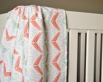 Crib Blanket Chevron Arrows - Crib Blanket - Baby Blanket - Minky Blanket - Mint, Coral, Gold Blanket - Arrow Baby Blanket - Coral Blanket