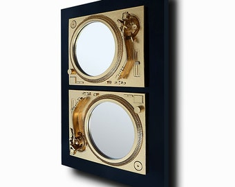 2Prevail - Technics Turntable Inspired Mirror Sculpture - Gold & Black  - Original Contemporary British Art