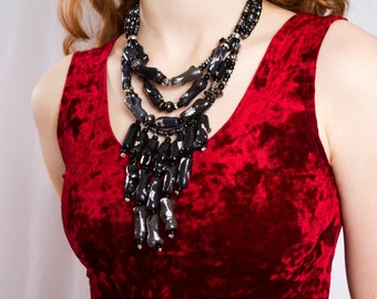 Black Coral Statement Necklace / Black Fringe Necklace / Ombre Draping Coral / Black and Gray Necklace