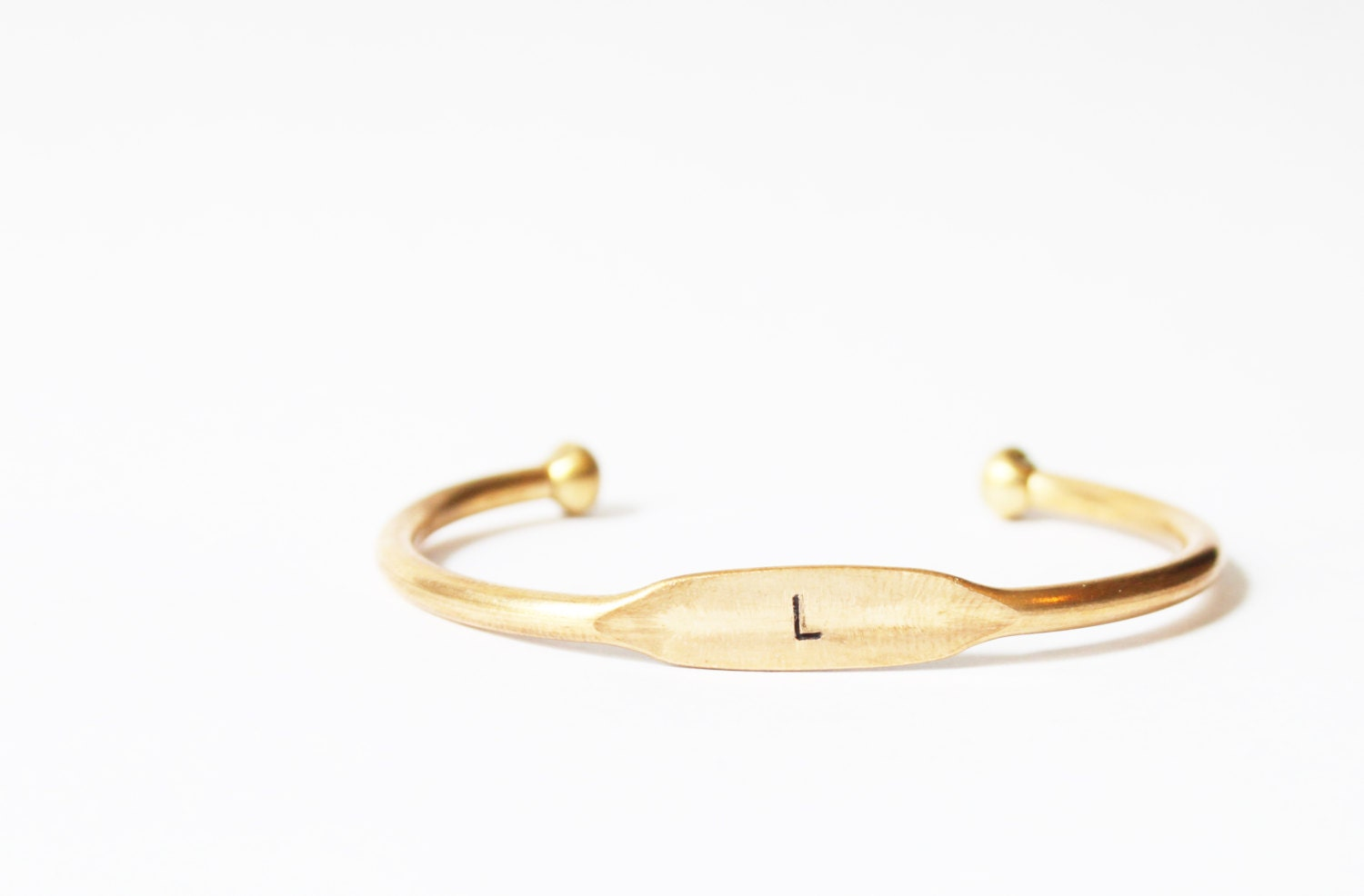 personalized bracelet brass initial cuff initial bangle
