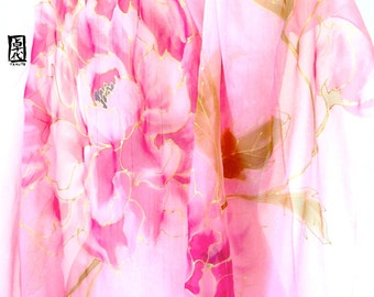 Hand Painted Silk Shawl Scarf Pink Peonies, Japanese Silk Chiffon Wrap, Pink Floral Scarf, Silk Scarves Takuyo, 20x88 inches. Made to order.