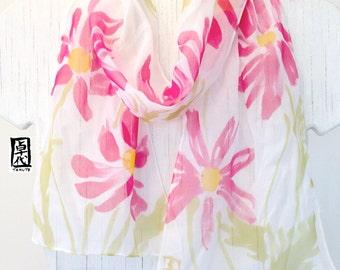White Silk Scarf Handpainted, Small Silk Scarf, Pink Cosmos Flowers, Silk Chiffon Scarf. Silk Scarves Takuyo. Approx 7x50 inches.