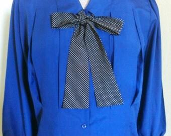 1980's Vintage Blue Bow Tie Blouse