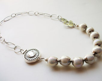 Romantic Asymmetrical Artisan Necklace - Beaded in Silver and White