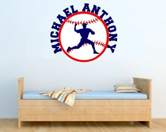 Baseball Wall Decal with Personalized Name