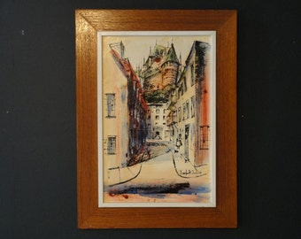 Vintage Mid Century Expressionist Framed Signed Acrylic and Ink on Hardboard Painting Old Quebec