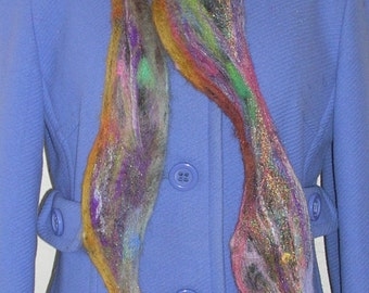 Vine Scarf Needle Felted Multi-Color Mixed Fiber Roving Full Color Spectrum Extra Long Vine Scarf Every Color Felted Vine Scarf
