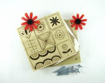 Flower Press - Wood Pyrography - Scandinavian Floral Design Plant Press