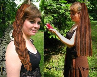 MEDIUM BROWN dread fall 112 DREADLOCKS Steampunk Hair Fall 24''/ 60 cm Renfair wig Larp extension Tribal Fusion Dreads Medieval Hair Piece