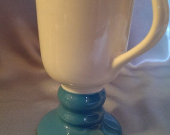 20% OFF Pedestal Mug White Muted Turquoise Made in USA