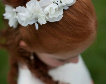 Flower Girl, White Sweet Pea Flower Girl or first communion hair wreath, halo, flower crown, wedding piece, bridal floral hair  accessory.