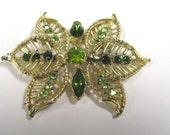 Vintage Green Rhinestone Filigree Brooch in gold tone metal, Rhinestone Brooch Pin