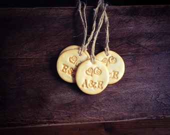 Gold Wedding Tags,  Golden Gift Tags, Clay Gift Tags, Wedding Gift Tags, Wedding Favor Tags