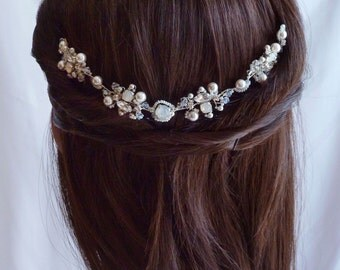 Opal White Crystal Bridal Headpiece  - Wedding Crystal Hair Comb - Crystal Rhinestones Wedding Hair Comb Opal White and Silver