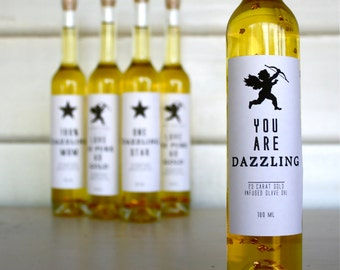 "Gift Bottle ""You are Dazzling"" 23 Carat Gold Infused - Australian Extra Virgin, Cold Pressed Bottled Olive Oil"
