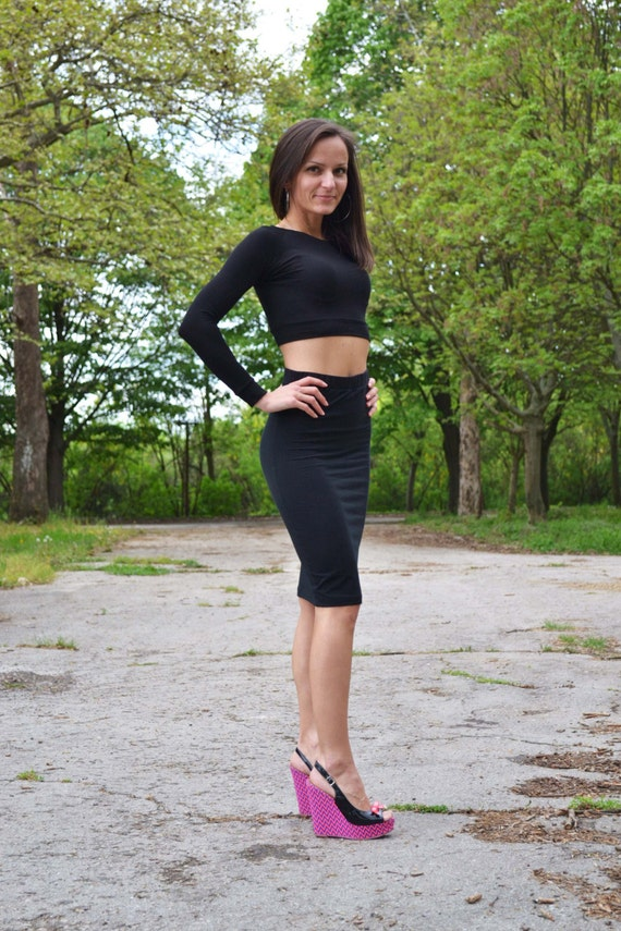 Set Of Two High Waisted Skirt Pencil Tight Skirt Cropped Top
