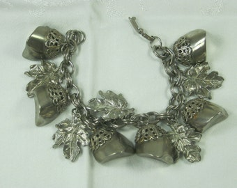 Vintage CHARM BRACELET Silverplate Stones & Leaves on Double Chain