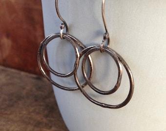 Hammered Sterling Silver Orbit Earrings