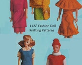 PDF 60s Fashion Doll Knitting Patterns Dress Jumper Sweater Turban Stole Blouse  INSTANT DOWNLOAD