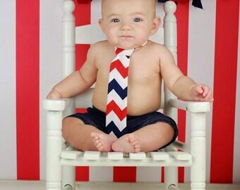 Baby Boy Tie Photo Prop Birthday Cake Smash Neck Tie First Birthday Sizes Newborn-2T 4th of July Patriotic Red White Blue Chevron Neck Tie