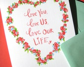Love You, Love Us Valentine Card - Romantic Valentines Day Card - Anniversary Card