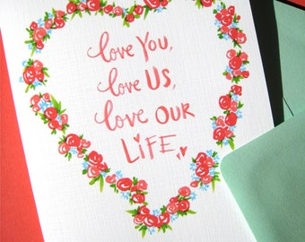 Love You, Love Us Romantic Card - Card for Husband or Wife - Anniversary Card - I Love You Card