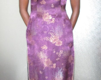 cheongsam chinese dress qipao purple satin size small medium 6 8