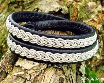 Sami Viking Double Wrap Leather Bracelet LIDSKJALV Lapland Black Reindeer Pewter Braid Antler Button Wristband - Tribal Elegance