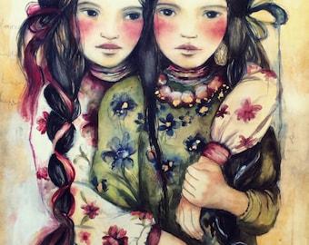 The twin sisters art print