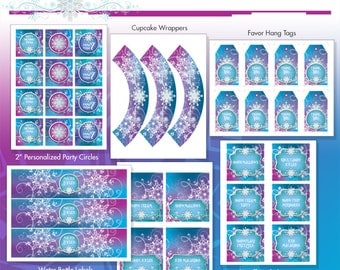 Frozen Party Package - Ice Princess Winter Snowflakes Printable Birthday Party - DIY - Do-It-Yourself Printables - Ice Princess Party Kit