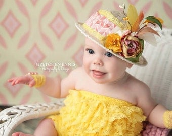 Pink, Coral, Yellow, Green and Ivory Baby Cloche Fascinator Hat Photo Prop w/ Fabric Flowers, Feathers, Lace