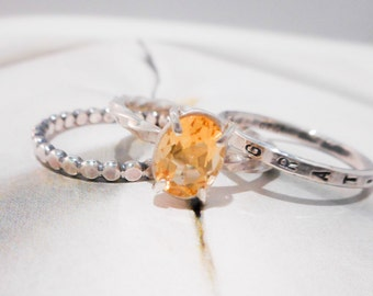 Soleil Ring // Yellow Citrine & Sterling Silver Personalized Stacking Ring Set