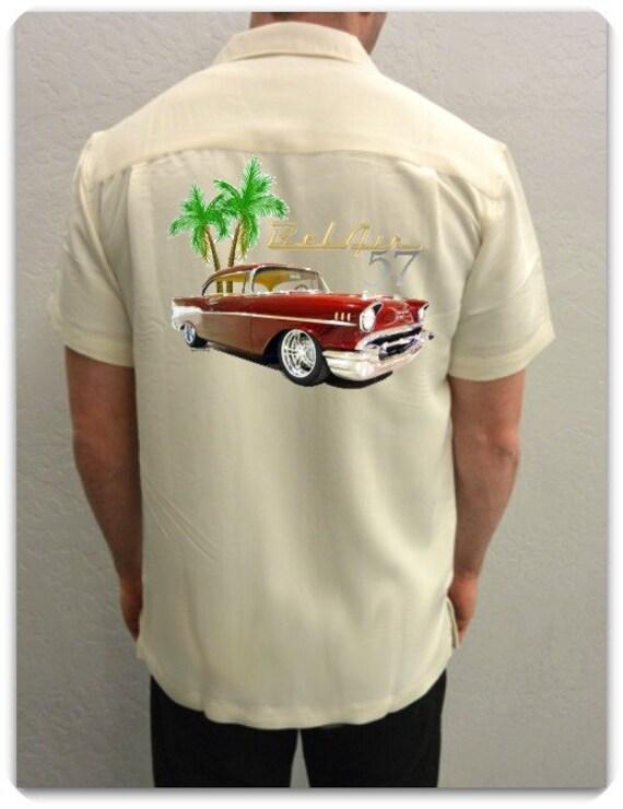 men 39 s car shirt 1957 chevy bel air red vintage. Black Bedroom Furniture Sets. Home Design Ideas