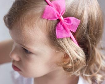 Baby Bow Headband - Neon Pink Sheer Bow Handmade Headband - Fits From Infants to Adults