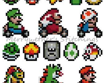 Mario Kart - Band Sampler Cross Stitch PATTERN