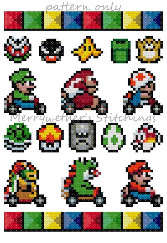 Mario Kart Band Sampler Cross Stitch Pattern