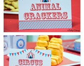 Circus Birthday Party Labels, Instant Download, Printable, Digital, Food Tags, Place Cards, Party Signs