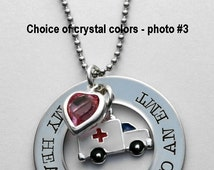 My Heart Belongs to an EMT - EMT - EMT Necklace or key ring - Ambulance Necklace - Paramedic Necklace - 911 - See note in Photo #3