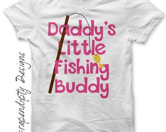 Camping Iron on Transfer - Iron on Girls Fishing Shirt / Daddy's Fishing Buddy Tshirt / Father's Day Clothes / Kids Camp Outfit IT404G