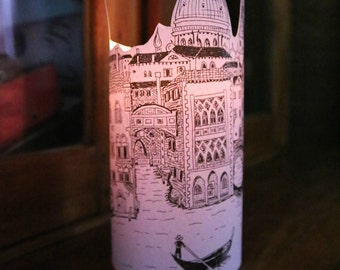 Set of 3 VENICE PAPER LANTERNS Silhouette Originally Hand Drawn Hand - just add candles