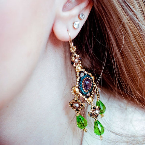 Beaded Chandelier Earrings, Crystal Beaded Earrings, Big Statement Earrings, Beaded Dangle Earrings, Purple Gold Green, Pearls,