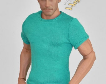 1/6th scale turquoise T-shirt for: action figures and male fashion dolls