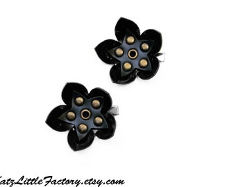 Pair Small Cyber Flower Hair Clips - Shiny and Matt Black PVC Antique Studded Gothic Industrial Mechanical Flowers