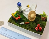 Fairy Vegetable Garden / Desktop Terrarium / Dollhouse Miniature / 1:12 scale / Wagon, Mushrooms, Gardening Tool, Gazing Ball, Chair