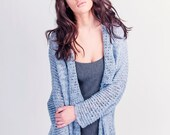 Wear-everywhere Cotton Cardigan - Knit Grey Jacket - Knitted Sweater - G-033