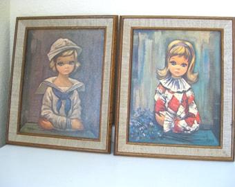"""Vintage Litho - Prints - """"Eden"""" - Big Eyed Girls - Set of 2 Framed - Sailor and Harlequin - 60's - Retro Big Eye Art"""