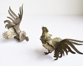 Vintage Silver Metal Roosters Silver Fighting Cocks Set of 2 Rooster Statues Silver Roosters Silver Bird Figurines Silver Cocks