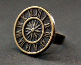 Bronze Sundial Ring. Button Ring. Clock Ring. Sun Dial Ring. Adjustable Ring in Bronze. Handmade Jewelry.