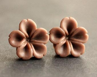 Brown Flower Earrings. Chocolate Brown Earrings. Bronze Post Earrings. Innie Flower Button Jewelry. Stud Earrings. Handmade Jewelry.