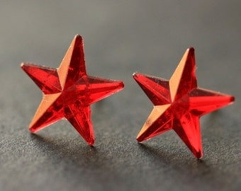Red Star Earrings. Red Earrings. Silver Stud Earrings. Star Earrings. Post Earrings. Handmade Earrings. Handmade Jewelry.